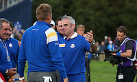 European Ryder Cup Team Captain Paul McGinley embraces Ian Poulter (EUR) during Sunday's Singles at the 2014 Ryder Cup from Gleneagles, Perthshire, Scotland. Picture:  David Lloyd / www.golffile.ie