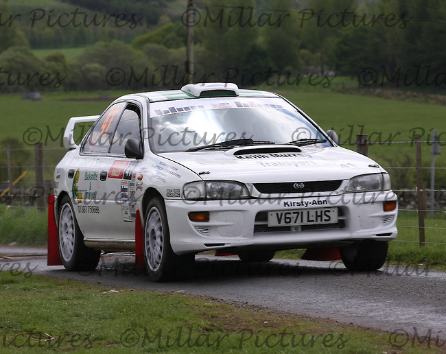 Lee Hastings - Brian Findon near junction 2 on Special Stage 2 Bothwell 2 on the Jim Clark Reivers Rally 2013, Round 4 of the RAC MSA Scottish Rally Championship sponsored by ARR Craib Transport Limited which was organised by Border Ecosse Motor Club and Berwick & District Car Club and based at Duns on 2.6.13.
