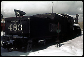 C&amp;TS #483 K-36 (Cumbres &amp; Toltec Scenic RR) at Chama. Coaling tower in background to right.<br /> C&amp;TS  Chama, NM