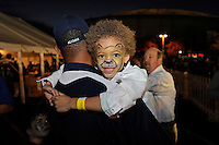20 December 2011:  An FIU fan with a painted face waits for the tailgating to end and the game to begin.  The Marshall University Thundering Herd defeated the FIU Golden Panthers, 20-10, to win the Beef 'O'Brady's St. Petersburg Bowl at Tropicana Field in St. Petersburg, Florida.