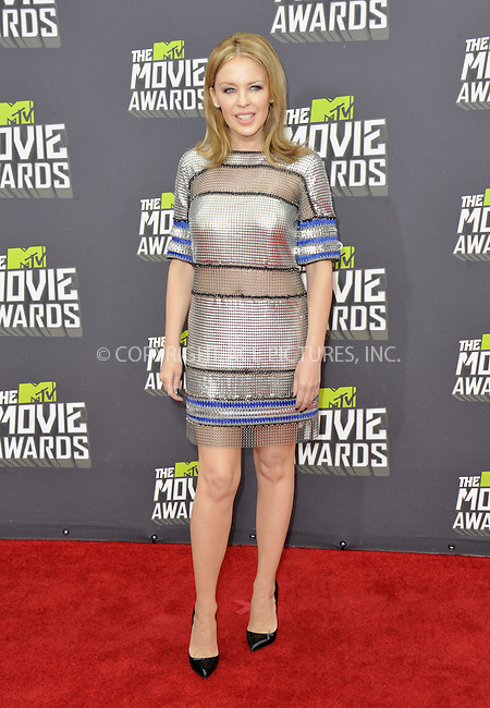 WWW.ACEPIXS.COM....April 14 2013, LA......Kylie Minogue arriving at the 2013 MTV Movie Awards at Sony Pictures Studios on April 14, 2013 in Culver City, California. ....By Line: Peter West/ACE Pictures......ACE Pictures, Inc...tel: 646 769 0430..Email: info@acepixs.com..www.acepixs.com