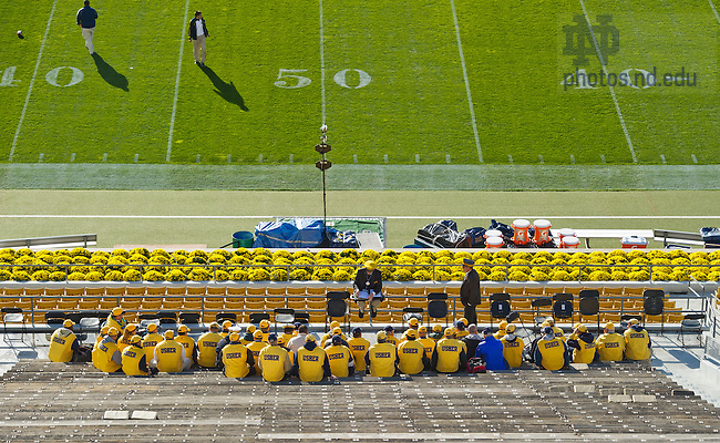 Sept. 22, 2012; Stadium Ushers meet before the gates open...Photo by Matt Cashore/University of Notre Dame