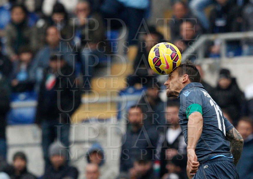 Calcio, Serie A: Lazio vs Napoli. Roma, stadio Olimpico, 18 gennaio 2015.<br /> Napoli&rsquo;s Christian Maggio heads the ball during the Italian Serie A football match between Lazio and Napoli at Rome's Olympic stadium, 18 January 2015.<br /> UPDATE IMAGES PRESS/Riccardo De Luca