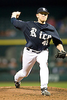 Rice Owl pitcher Tyler Duffey #42 against the Texas Longhorns on Friday March 5th, 2100 at the Astros College Classic in Houston's Minute Maid Park.  (Photo by Andrew Woolley / Four Seam Images)