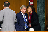 United States Senator Dianne Feinstein (Democrat of California) speaks to United States Senator Lindsey Graham (Republican of South Carolina) as they depart a business meeting of the United States Senate Judiciary Committee at the United States Capitol in Washington D.C., U.S. on Thursday, May 21, 2020.  Credit: Stefani Reynolds / CNP /MediaPunch