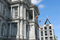 Belgium flag and local flags fly at half-mast at Montreal City Hall,March 22 ,2016, after the terrorist attack in Belgium.<br /> <br /> Photo : Josie Desmarais - Agence Quebec Presse
