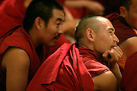 Monks gather at the Sera Monastery in Lhasa. Located at the southern slope of the Serawoze Mountain in the northern suburbs of Lhasa, the Sera Monastery once had a population of over five thousand and hosted three colleges of instruction.