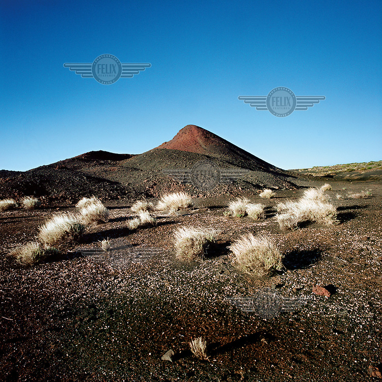 The Volcan Fasnia volcano covered in black ash.