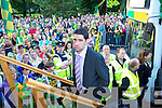 The Kerry team arrive in Denny Street Tralee on Monday Evening after being Defeated by Tyrone in the All Ireland Final in Croke Park.  Bryan Sheehan