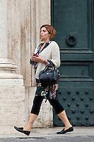 Laura Castelli<br /> Roma 02-10-2014 Montecitorio. Senatori e Deputati escono dalla Camera dov'e' riunito il Parlamento in seduta comune per l'elezione di membri della consulta.<br /> Photo Samantha Zucchi Insidefoto