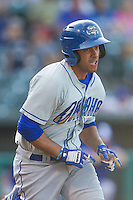 Omaha Storm Chasers third baseman Ramon Torres (4) runs to first base in a game against the Oklahoma City Dodgers at Chickasaw Bricktown Ballpark on June 16, 2016 in Oklahoma City, Oklahoma. Oklahoma City defeated Omaha 5-4  (William Purnell/Four Seam Images)