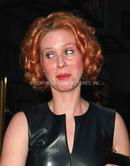 """I don't know""..Actress Cynthia Nixon arrives at the Regency Wall Street Hotel for the Atlantic Theater Company's Spring Gala Benefit Tribute to HBO's popular series ""Sex and the City."" May 21, 2002 in New York City. Please byline: Alecsey Boldeskul/NY Photo Press.   ..*PAY-PER-USE*      ....NY Photo Press:  ..phone (646) 267-6913;   ..e-mail: info@nyphotopress.com"