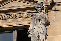 Statue of Jean-Jacques Rousseau, 1712-1778, author and philosopher, by Jean-Baptiste Farochon, at the Colbert Wing, in the Cour Napoleon at the Musee du Louvre, Paris, France. A series of 86 statues of famous men were placed in this courtyard 1853-57 under the architects Louis Visconti and Hector Lefuel. Picture by Manuel Cohen