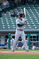 Columbus Clippers designated hitter Mike Papi (12) during an International League game against the Indianapolis Indians on April 30, 2019 at Victory Field in Indianapolis, Indiana. Columbus defeated Indianapolis 7-6. (Zachary Lucy/Four Seam Images)