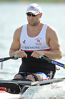 Poznan, POLAND,  GBR ASM1X Tom AGGAR, competing in the heats of the men's AS Single Sculls, on the Second day of the, 2009 FISA World Rowing Championships. held on the Malta Rowing lake, Monday 24/08/2009 [Mandatory Credit. Peter Spurrier/Intersport Images]