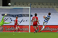 Luke Amos of Queens Park Rangers  misses from close range during Queens Park Rangers vs Fulham, Sky Bet EFL Championship Football at the Kiyan Prince Foundation Stadium on 30th June 2020