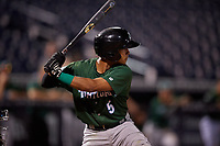 Daytona Tortugas Lorenzo Cedrola (5) at bat during a Florida State League game against the Tampa Tarpons on May 17, 2019 at George M. Steinbrenner Field in Tampa, Florida.  Daytona defeated Tampa 8-6.  (Mike Janes/Four Seam Images)