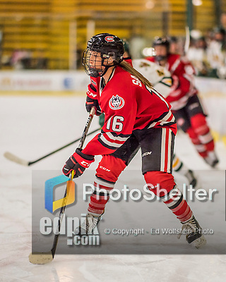 25 November 2016: Saint Cloud State Huskie Forward Kelsey Saelens, a Senior from Winnipeg, Manitoba, in action against the University of Vermont Catamounts at Gutterson Fieldhouse in Burlington, Vermont. The Lady Cats defeated the Huskies 5-1 to take the first game of the 2016 Windjammer Classic Tournament. Mandatory Credit: Ed Wolfstein Photo *** RAW (NEF) Image File Available ***
