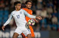 Jacob Maddox (Chelsea) of England U20 & Mitchell Van ROOIJEN (FC Utrecht) of Netherlands during the International friendly match between England U20 and Netherlands U20 at New Bucks Head, Telford, England on 31 August 2017. Photo by Andy Rowland.