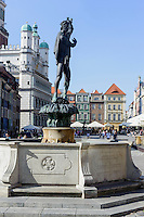 Brunnen + Rathaus am alten Marktplatz (Stary Rynek) in Posnan (Posen), Woiwodschaft Gro&szlig;polen (Wojew&oacute;dztwo wielkopolskie), Polen Europa<br /> Fountain and townhall at Old Market Place (Stary Rynek) in Pozan, Poland, Europe