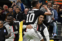 Cristiano Ronaldo of Juventus celebrates with Paulo Dybala and Blaise Matuidi after scoring a goal, afterwards canceled by the referee Gianluca Rocchi .<br /> Milano 6-10-2019 Stadio Giuseppe Meazza <br /> Football Serie A 2019/2020 <br /> FC Internazionale - Juventus FC <br /> Photo Andrea Staccioli / Insidefoto