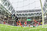 Stockholm 2015-07-27 Fotboll Allsvenskan Hammarby IF - IFK Norrk&ouml;ping :  <br /> Norrk&ouml;pings m&aring;lvakt David Mitov Nilsson r&auml;ddar en  nick av Hammarbys Erik Israelsson under matchen mellan Hammarby IF och IFK Norrk&ouml;ping <br /> (Foto: Kenta J&ouml;nsson) Nyckelord:  Fotboll Allsvenskan Tele2 Arena Hammarby HIF Bajen IFK Norrk&ouml;ping