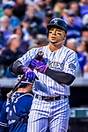 16 September 2017: Colorado Rockies outfielder Carlos Gonzalez in action against the San Diego Padres at Coors Field in Denver, Colorado. The Rockies shut out the Padres in a 16-0 route of the second game in their 3-game divisional series. Mandatory Credit: Ed Wolfstein Photo *** RAW (NEF) Image File Available ***