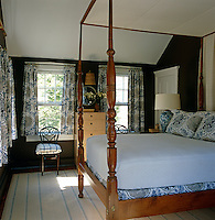 Antique maple four-poster bed in the guest bedroom
