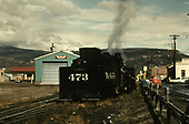 Rear view of D&amp;RGW #473 switching north of Durango yard.<br /> D&amp;RGW  Durango, CO  ca 1955
