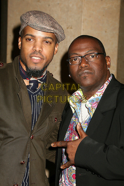 VAN HUNT & RANDY JACKSON.Clive Davis 2007 Pre-Grammy Awards Party at the Beverly Hilton Hotel, Beverly Hills, USA..February 10th, 2007.half length black glasses brown hat glasses hand gesture.CAP/ADM/BP.©Byron Purvis/AdMedia/Capital Pictures
