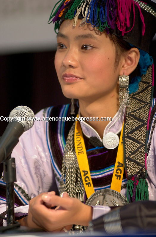 Aug 30,  2003, Montreal, Quebec, Canada<br /> <br /> Li Min, main actress in Zhang Jiarui movie<br /> RUOMA DE SHI SUI (When Ruoma was seventeen), presented in the Official Competition of the<br />  2003 Montreal World Film Festival, during the movie's press conference<br /> <br /> She is an ordinary schoolgirl choosen among 1500 others of an ethnic minority, for the main role in the first Chinese independant film on ethnic HANI tribe<br /> <br /> The Festival runs from August 27th to september 7th, 2003<br /> <br /> <br /> Mandatory Credit: Photo by Pierre Roussel- Images Distribution. (&copy;) Copyright 2003 by Pierre Roussel <br /> <br /> All Photos are on www.photoreflect.com, filed by date and events. For private and media sales