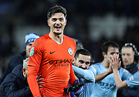 Manchester City 's goalkeeper Arijanet Muric is congratulated by his team mates<br /> <br /> Photographer Andrew Kearns/CameraSport<br /> <br /> English League Cup - Carabao Cup Quarter Final - Leicester City v Manchester City - Tuesday 18th December 2018 - King Power Stadium - Leicester<br />  <br /> World Copyright &copy; 2018 CameraSport. All rights reserved. 43 Linden Ave. Countesthorpe. Leicester. England. LE8 5PG - Tel: +44 (0) 116 277 4147 - admin@camerasport.com - www.camerasport.com