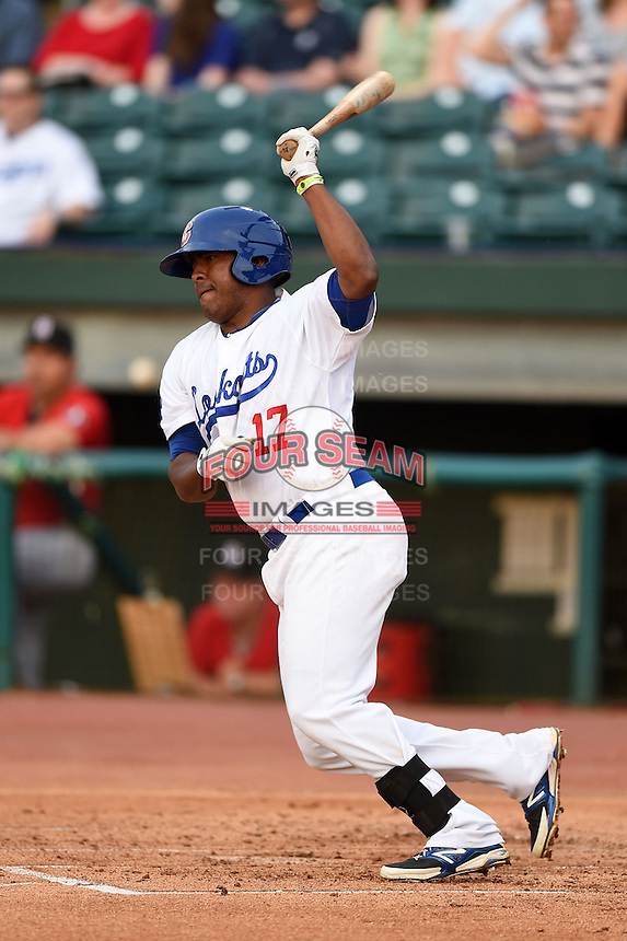 Chattanooga Lookouts third baseman Daniel Mayora (17) at bat during a game against the Birmingham Barons on April 24, 2014 at AT&T Field in Chattanooga, Tennessee.  Chattanooga defeated Birmingham 5-4.  (Mike Janes/Four Seam Images)