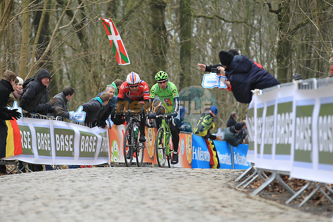 Norwegian National Champion Edvald Boasson Hagen Sky Procycling leads Peter Sagan (SVK) Cannondale Pro Cycling up Kemmelberg for the first time during the 75th edition of Gent-Wevelgem, Belgium, 24th  March 2013 (Photo by Eoin Clarke 2013)