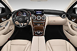 Stock photo of straight dashboard view of 2017 Mercedes Benz C Class 300 4 Door Sedan