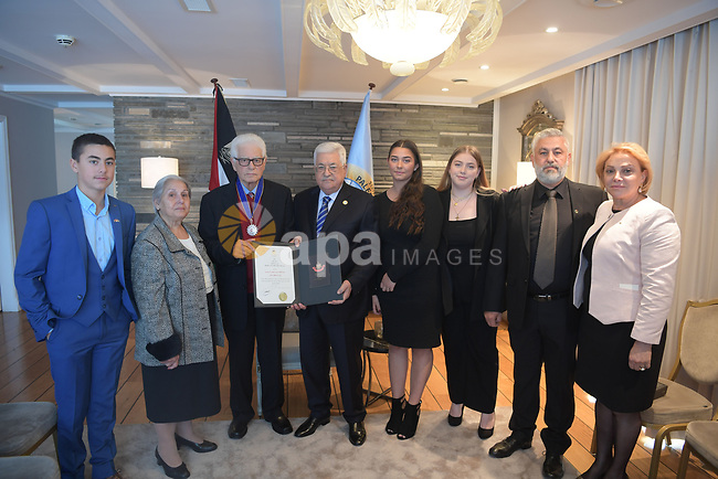 Palestinian President Mahmoud Abbas, during the honoring of the  Musa Aljeris in Oslo on September 19, 2019. Photo by Thaer Ganaim