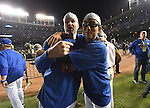 (L-R) David Ross, Munenori Kawasaki (Cubs),<br /> OCTOBER 22, 2016 - MLB :<br /> Chicago Cubs shortstop Munenori Kawasaki celebrate with his teammate after winning the Game 6 of the National League baseball championship series against the Los Angeles Dodgers, Saturday, Oct. 22, 2016, in Chicago. The Cubs won 5-0 to win the series and advance to the World Series against the Cleveland Indians. (Photo by AFLO)
