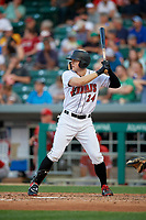 Indianapolis Indians right fielder Austin Meadows (24) at bat during a game against the Rochester Red Wings on July 24, 2018 at Victory Field in Indianapolis, Indiana.  Rochester defeated Indianapolis 2-0.  (Mike Janes/Four Seam Images)