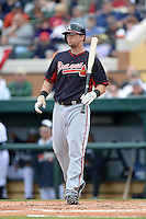 Atlanta Braves first baseman Mark Hamilton (68) during a spring training game against the Detroit Tigers on February 27, 2014 at Joker Marchant Stadium in Lakeland, Florida.  Detroit defeated Atlanta 5-2.  (Mike Janes/Four Seam Images)