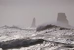 Surf kayaker, La Push, Olympic National Park, Olympic Peninsula, Washington State, Pacific Northwest, USA, Pacific Ocean, Winter storm surf at the January Surf Frolic,.