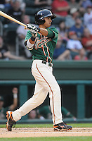 Infielder Noah Perio (2) of the Greensboro Grasshoppers, Class A affiliate of the Florida Marlins, in a game against the Greenville Drive on April 25, 2011, at Fluor Field at the West End in Greenville, S.C. Photo by Tom Priddy / Four Seam Images