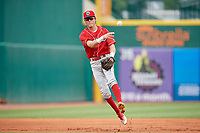 Lakewood BlueClaws shortstop Nick Maton (6) throws to first base during a game against the Greensboro Grasshoppers on June 10, 2018 at First National Bank Field in Greensboro, North Carolina.  Lakewood defeated Greensboro 2-0.  (Mike Janes/Four Seam Images)