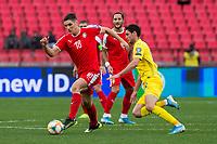 17th November 2019; Stadion Rajko Mitic, Belgrade, Serbia; European Championships 2020 Qualifier, Serbia versus Ukraine; Nikola Milenkovic of Serbia comes forward on the ball - Editorial Use