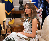 First Lady Melania Trump attends a meeting with United States President Donald J. Trump, King Felipe VI and Queen Letizia of Spain at The White House in Washington, DC, June 19, 2018. Chris Kleponis/ CNP