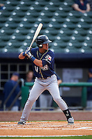 San Antonio Missions outfielder Alberth Martinez (21) at bat during a game against the NW Arkansas Naturals on May 31, 2015 at Arvest Ballpark in Springdale, Arkansas.  NW Arkansas defeated San Antonio 3-1.  (Mike Janes/Four Seam Images)