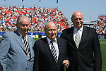 22 July 2007: FIFA president Joseph (Sepp) Blatter (center) poses with Asociacion del Futbol Argentino President Julio Grondona (l) and Football Association of Czech Republic President Pavel Mokry (r) before the game. At the National Soccer Stadium, also known as BMO Field, in Toronto, Ontario, Canada. Argentina's Under-20 Men's National Team defeated the Czech Republic's Under-20 Men's National Team 2-1 in the championship match of the FIFA U-20 World Cup Canada 2007 tournament.