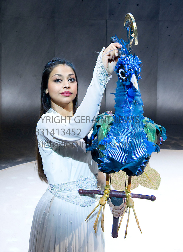 Arabian Nights .A Royal Shakespeare Company  Production adapted and directed by Dominic Cooke.With Ayesha Dharker as Talking Bird in The Story of The Envious Sisters.Opens at The Courtyard Theatre in Stratford Upon Avon  on 15/12/09. Credit Geraint Lewis