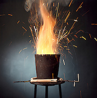 THERMITE PROCESS: REDUCTION OF Fe2O BY ALUMINUM<br /> Exothermic Reaction Produces Molten Iron<br /> Produces small quantities of molten iron for special purposes like the repair of railway lines. Aluminum is reactive enough to reduce less reactive metal oxides to the metal. Strongly exothermic reaction started by adding glycerine to the mix w/KMNO4.