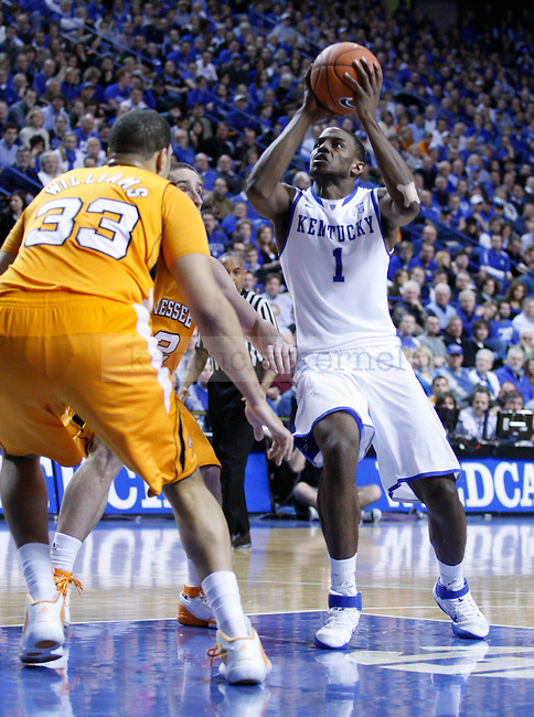 Darius Miller is guarded by Brian Williams in the second half of the game against the University of Tennessee, at Rupp Arena on Tuesday, February 8, 2011.  Photo by Latara Appleby | Staff