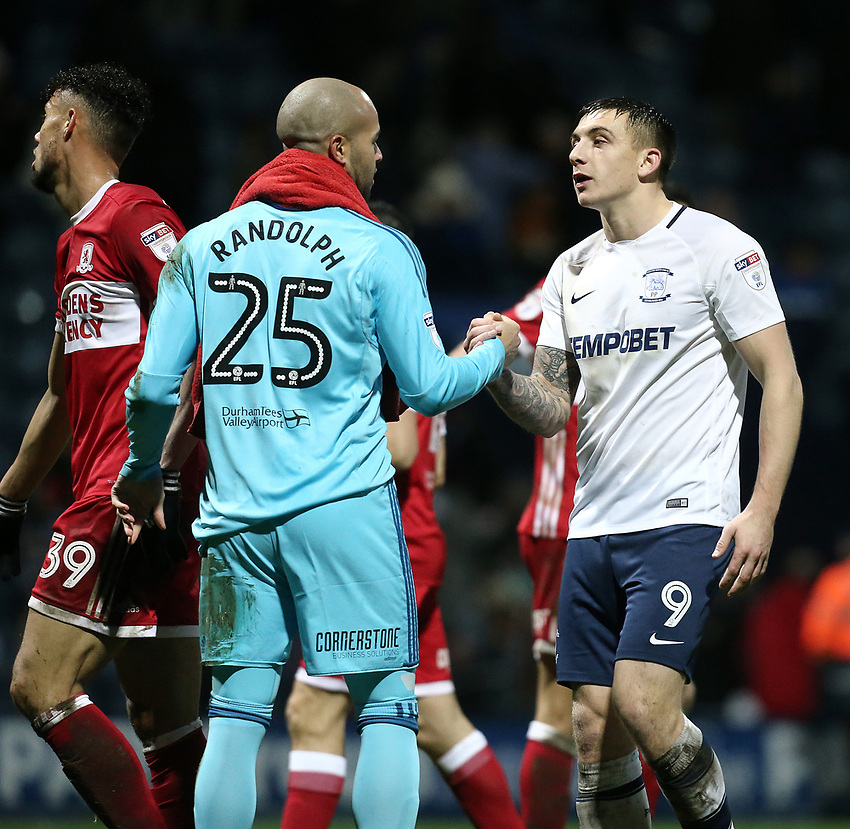 Middlesbrough's Darren Randolph is congratulated by Preston North End's Jordan Hugill at the final whistle<br /> <br /> Photographer Rich Linley/CameraSport<br /> <br /> The EFL Sky Bet Championship - Preston North End v Middlesbrough - Monday 1st January 2018 - Deepdale Stadium - Preston<br /> <br /> World Copyright &copy; 2018 CameraSport. All rights reserved. 43 Linden Ave. Countesthorpe. Leicester. England. LE8 5PG - Tel: +44 (0) 116 277 4147 - admin@camerasport.com - www.camerasport.com